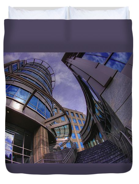 Duvet Cover featuring the photograph Reflections And Curves by Dennis Baswell