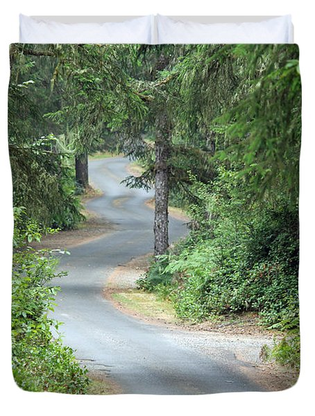 Curves Into Leadbetter Point State Park II Duvet Cover by E Faithe Lester