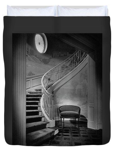 Curving Staircase In The Home Of  W. E. Sheppard Duvet Cover by Maynard Parker
