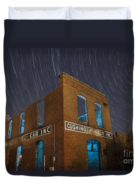 Duvet Cover featuring the photograph Cushing Auto Service by Keith Kapple