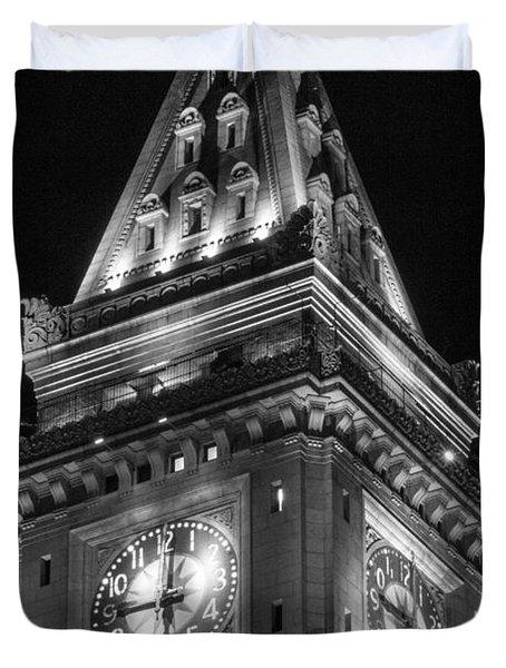 Custom House In Boston Black And White Duvet Cover