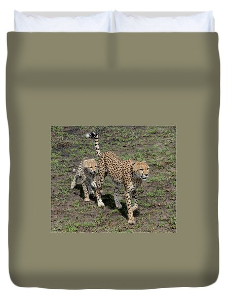 Duvet Cover featuring the photograph Cute Cheetah Wait For Me Mommy by Tom Wurl