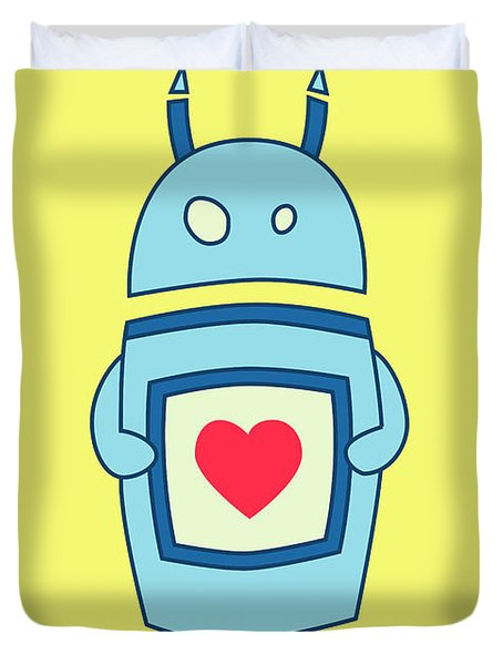 Cute Clumsy Robot With Heart Duvet Cover