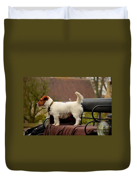 Cute Dog On Carriage Seat Bruges Belgium Duvet Cover