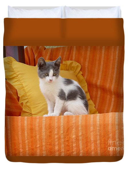 Duvet Cover featuring the photograph Cute Kitty by Vicki Spindler