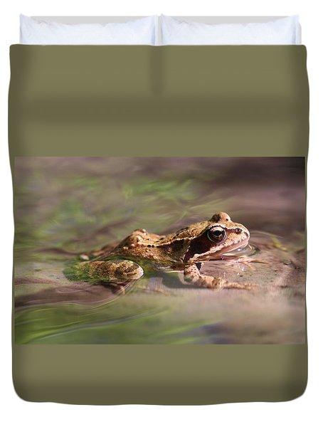 Cute Litte Creek Frog Duvet Cover