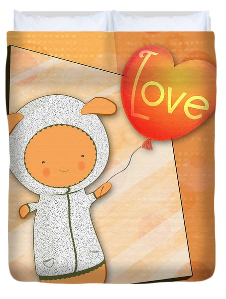 Cute Lots Of Love Love You Cute Character Holding A Love Balloons  Duvet Cover