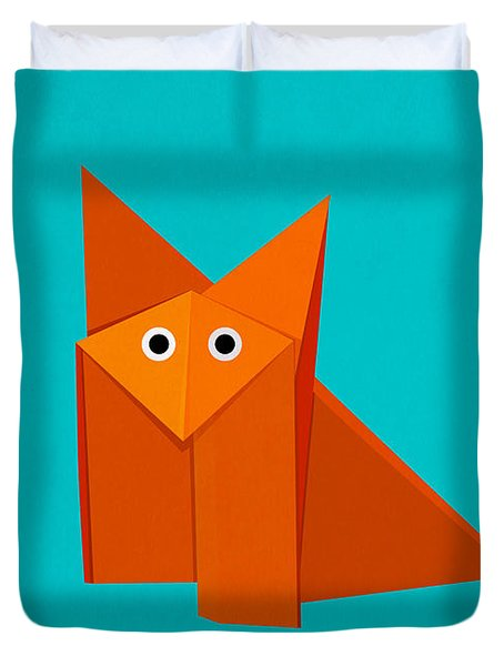 Cute Origami Fox Duvet Cover