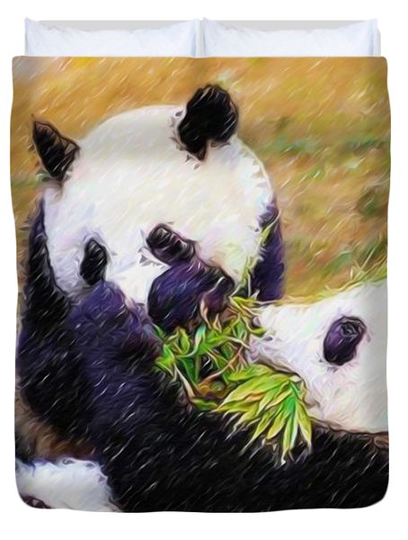 Cute Pandas Play Together Duvet Cover by Lanjee Chee