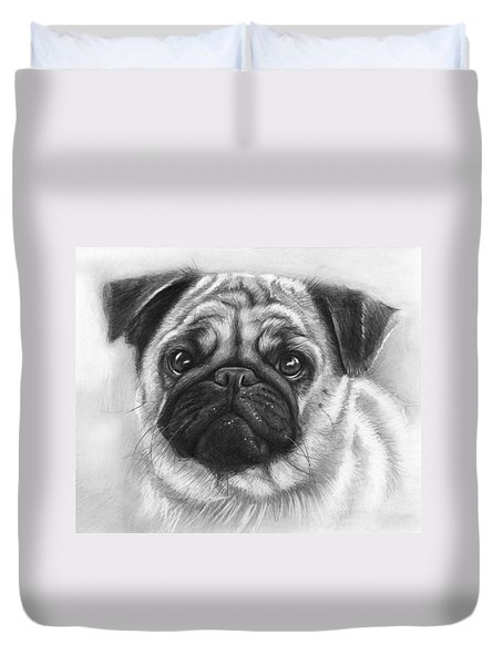 Cute Pug Duvet Cover by Olga Shvartsur