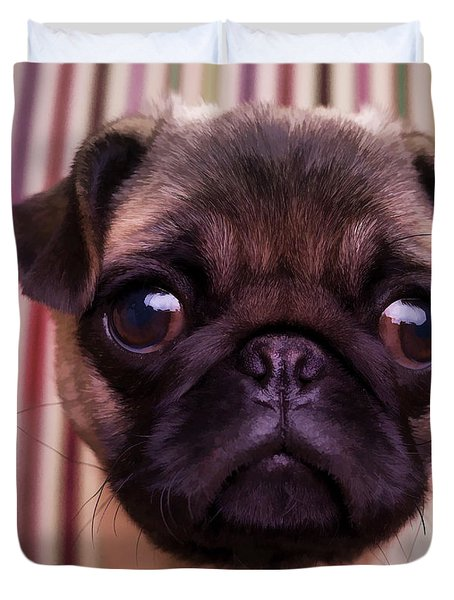 Cute Pug Puppy Duvet Cover by Edward Fielding