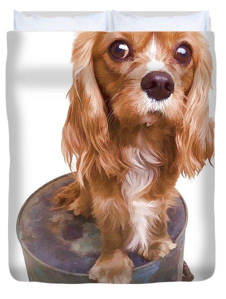 Cute Puppy Card Duvet Cover by Edward Fielding