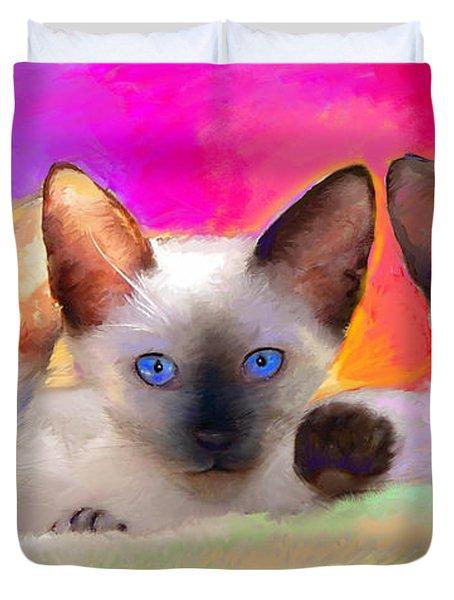 Cute Siamese Kittens Cats  Duvet Cover by Svetlana Novikova