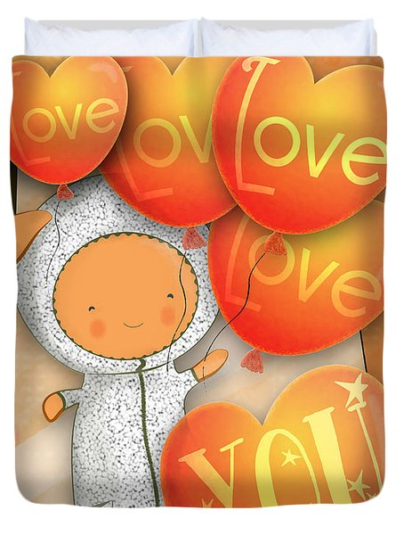Cute Teddy With Lots Of Love Balloons Duvet Cover