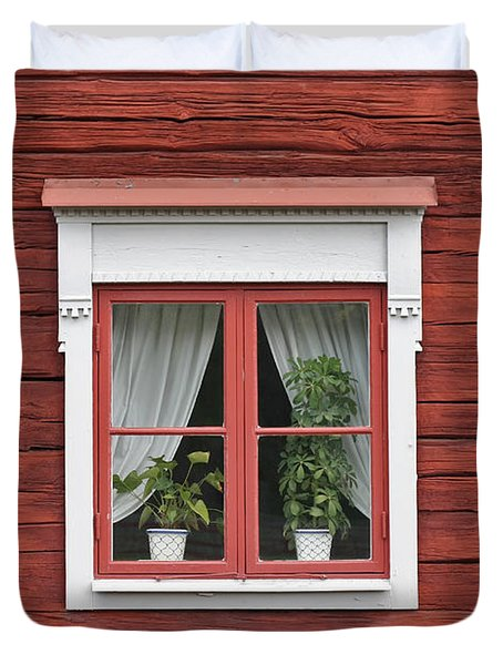 Cute Window On Red Wall Duvet Cover