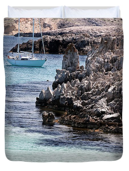 In Cala Pudent Menorca The Cutting Rocks In Contrast With Turquoise Sea Show Us An Awsome Place Duvet Cover