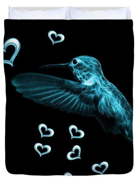 Cyan Hummingbird - 2055 F M Duvet Cover