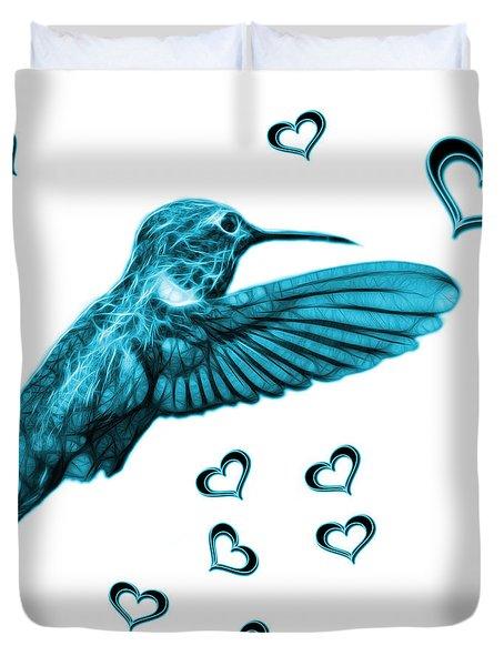 Duvet Cover featuring the digital art Cyan Hummingbird - 2055 F S M by James Ahn