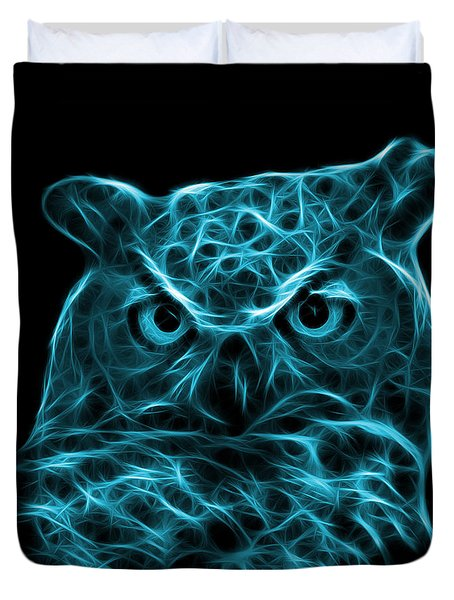 Cyan Owl 4436 - F M Duvet Cover by James Ahn