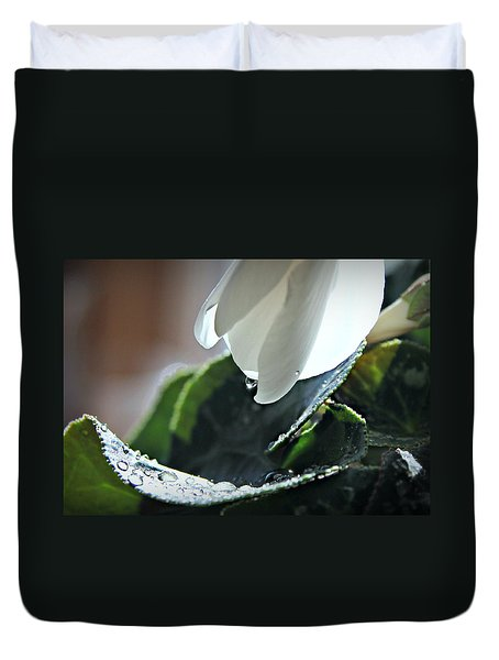 Duvet Cover featuring the photograph Cyclamens In The Rain by Katie Wing Vigil