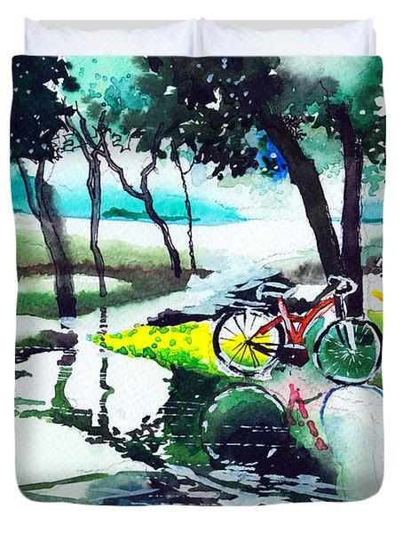 Cycle In The Puddle Duvet Cover by Anil Nene