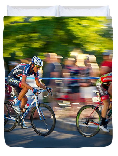 Duvet Cover featuring the photograph Cycling Pursuit by Kevin Desrosiers