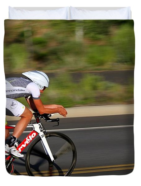 Duvet Cover featuring the photograph Cycling Time Trial by Kevin Desrosiers