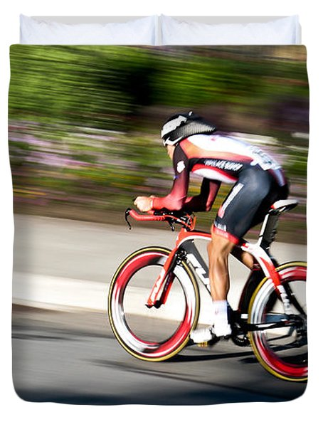 Duvet Cover featuring the photograph Cyclist Racing The Clock by Kevin Desrosiers