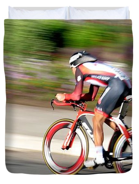 Duvet Cover featuring the photograph Cyclist Time Trial by Kevin Desrosiers