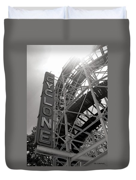 Cyclone Rollercoaster - Coney Island Duvet Cover by Jim Zahniser