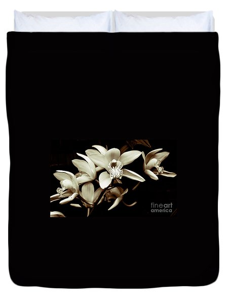 Cymbidium Orchids Duvet Cover by Charlene Mitchell