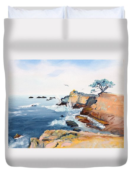 Duvet Cover featuring the painting Cypress And Seagulls by Asha Carolyn Young
