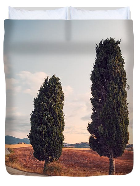 Cypress Lined Road In Tuscany Duvet Cover by Matteo Colombo