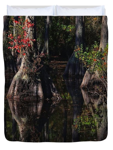 Cypress Reflections Duvet Cover by Laura Ragland
