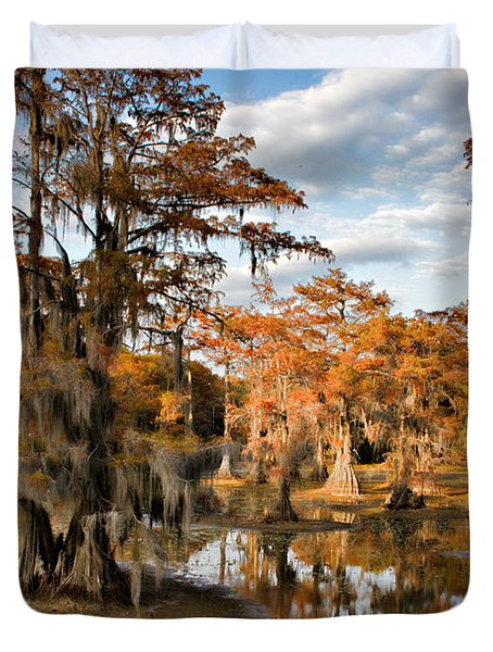 Duvet Cover featuring the photograph Cypress Rust by Lana Trussell