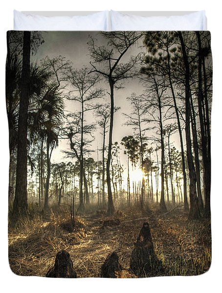 Cypress Stumps And Sunset Fire Duvet Cover by Bradley R Youngberg
