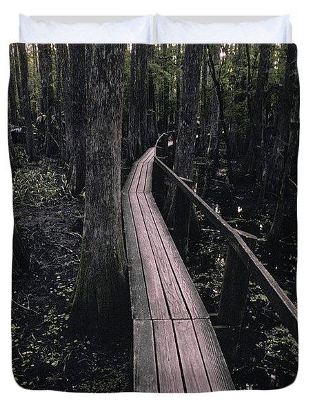Cypress Swamp Trail Duvet Cover by Ron Sanford