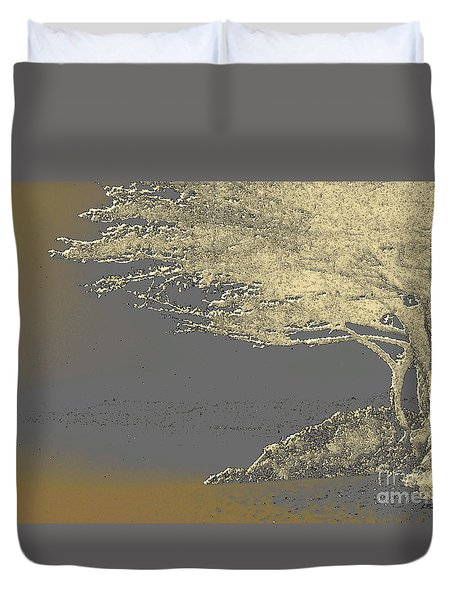 Cypress Tree On Beach Duvet Cover by Linda  Parker