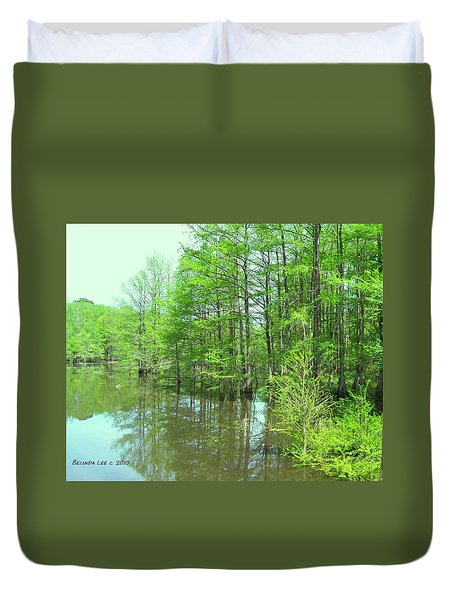 Duvet Cover featuring the photograph Bright Green Cypress Trees Reflection by Belinda Lee