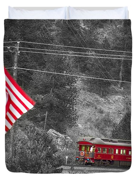 Cyrus K. Holliday Rail Car And Usa Flag Bwsc Duvet Cover by James BO  Insogna