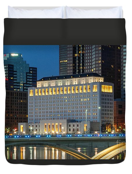 D2l496 Columbus Ohio Night Skyline  Duvet Cover