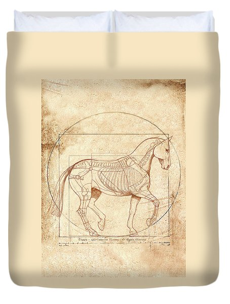 da Vinci Horse in Piaffe Duvet Cover by Catherine Twomey