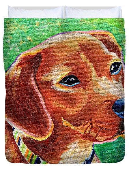 Dachshund Beagle Mixed Breed Dog Portrait Duvet Cover
