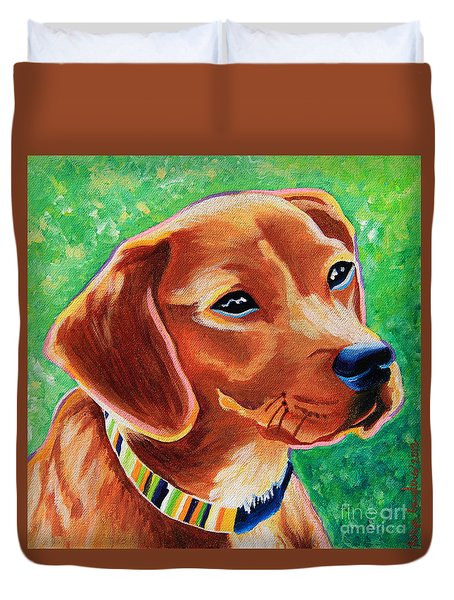 Dachshund Beagle Mixed Breed Dog Portrait Duvet Cover