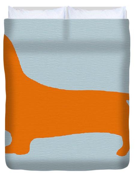 Dachshund Orange Duvet Cover by Naxart Studio