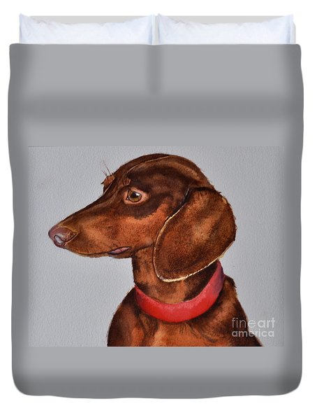 Dachshund Watercolor Painting Duvet Cover