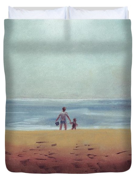 Daddy At The Beach Duvet Cover
