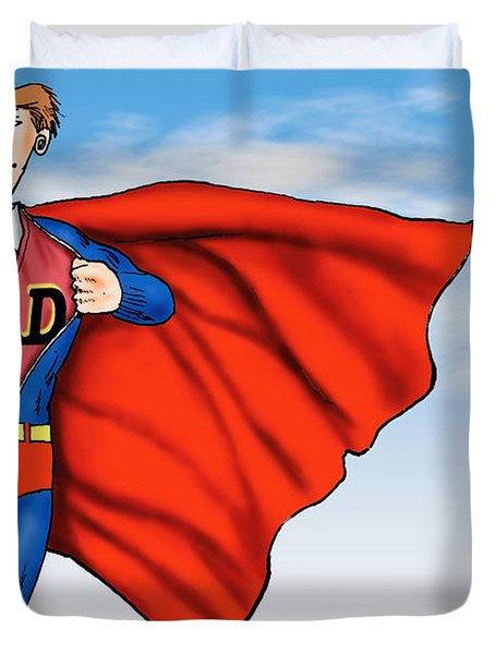 Daddys Home Superman Dad Duvet Cover by Tony Rubino