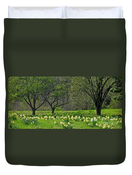 Daffodil Meadow Duvet Cover by Ann Horn