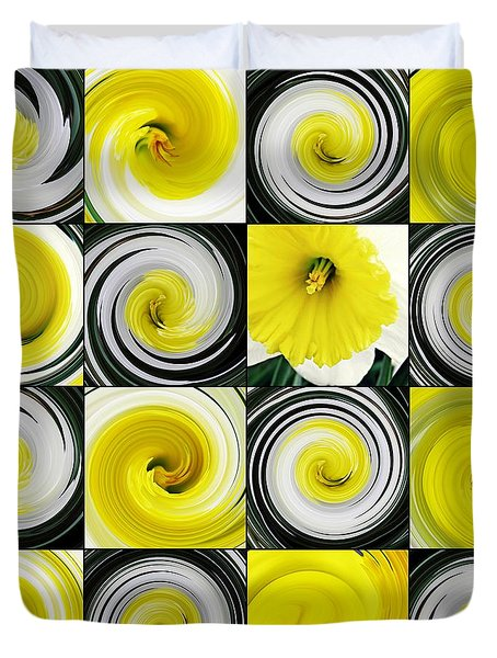 Daffodil Spring Mosaic Duvet Cover